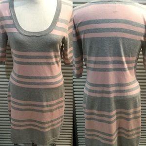 ALLISON BRITTANY szXL PINK&grey sweater dress SS